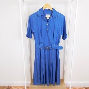 Vintage Denim Belted Cotton Midi Dress